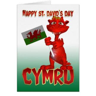 Cartão do dia de St David - bandeira de Galês do