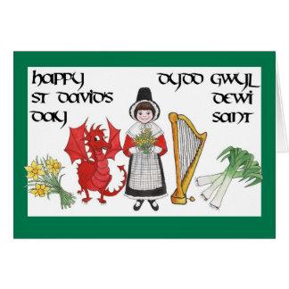 Cartão do dia de St David: Bilíngüe