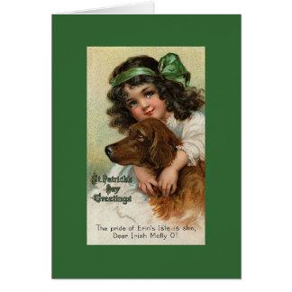 Cartão do dia de St Patrick da menina/cão do