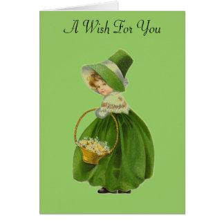 Cartão do dia de St Patrick da rapariga do vintage