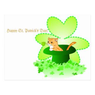 Cartão do dia de St Patrick do gato