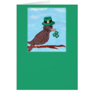 Cartão do dia de St Patrick do pardal do trevo