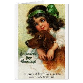 Cartão do dia de St Patrick do setter irlandês do