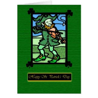 Cartão do dia de St Patrick do vitral, santo