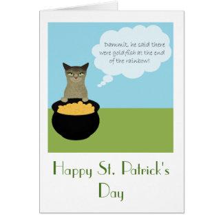 Cartão do dia de St Patrick engraçado com gato