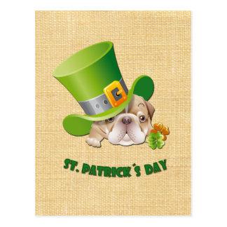 Cartão do dia de St Patrick engraçado do buldogue