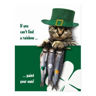 Cartão do dia de St Patrick engraçado do gatinho