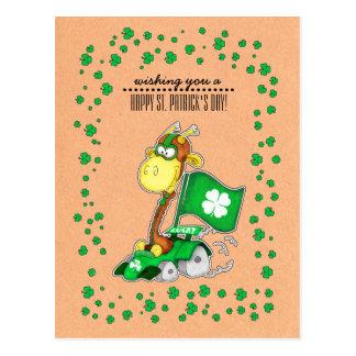 Cartão do dia de St Patrick engraçado do girafa