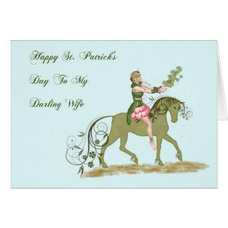 Cartão do dia de St Patrick para a esposa