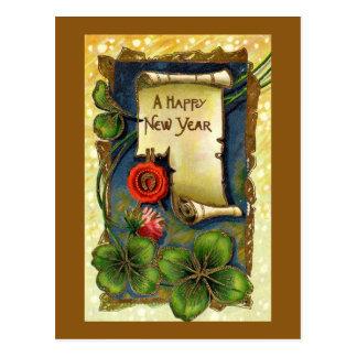 Cartão do dia do ano novo do vintage