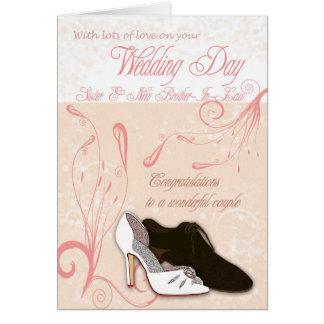 Cartão do dia do casamento da irmã com amor
