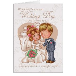 Cartão do dia do casamento do filho & da nora com