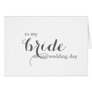 Cartão do dia do casamento para a noiva