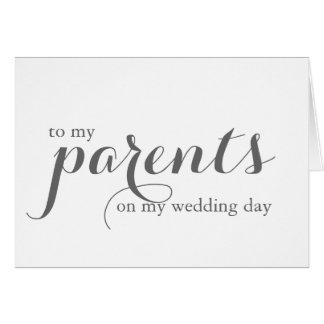 Cartão do dia do casamento para pais