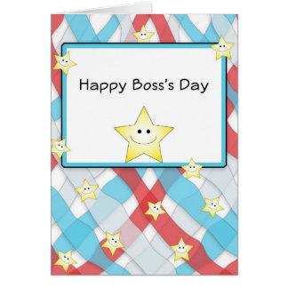Cartão do dia do chefe feliz com estrelas