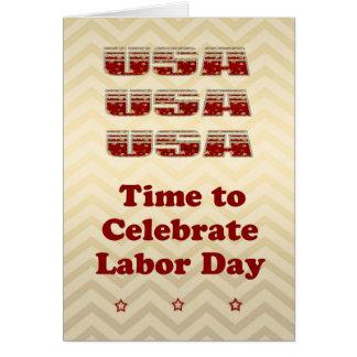 Cartão do Dia do Trabalhador que brilha no ouro,