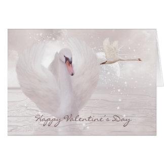 Cartão do dia dos namorados - cisne no rosa