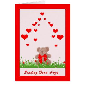 Cartão do dia dos namorados com urso e corações