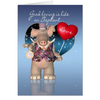 Cartão do dia dos namorados - cómico - elefante Va