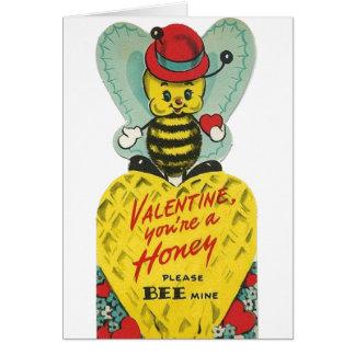 Cartão do dia dos namorados da abelha do mel do