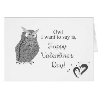 Cartão do dia dos namorados da coruja