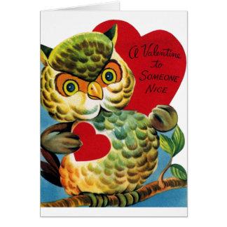 Cartão do dia dos namorados da coruja do vintage