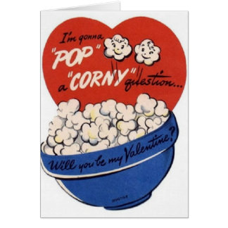 Cartão do dia dos namorados da pipoca do vintage