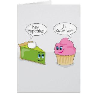Cartão do dia dos namorados da torta/cupcake de