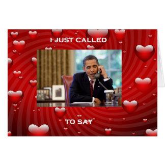 Cartão do dia dos namorados de Barack Obama