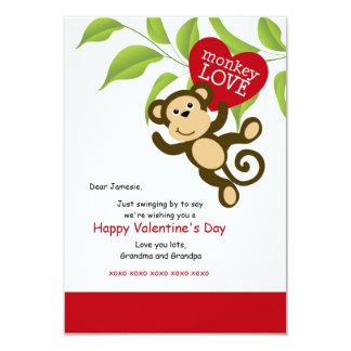 Cartão do dia dos namorados do amor do macaco convite 8.89 x 12.7cm