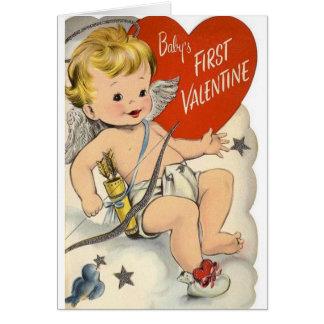 Cartão do dia dos namorados do bebê do vintage
