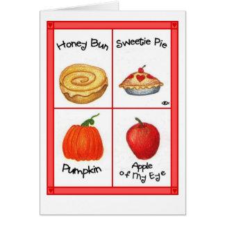 Cartão do dia dos namorados do bolo de mel