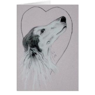 Cartão do dia dos namorados do cão de Saluki