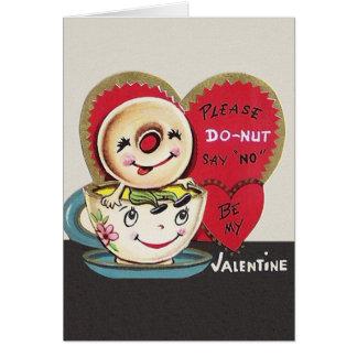Cartão do dia dos namorados do copo da rosquinha e