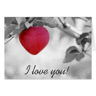 Cartão do dia dos namorados do coração da fruta