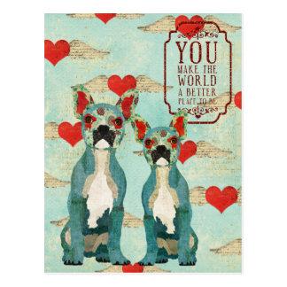 Cartão do dia dos namorados do coração dos buldogu cartão postal
