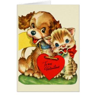Cartão do dia dos namorados do filhote de cachorro
