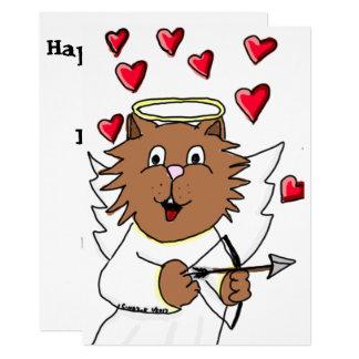 Cartão do dia dos namorados do gato convite 12.7 x 17.78cm
