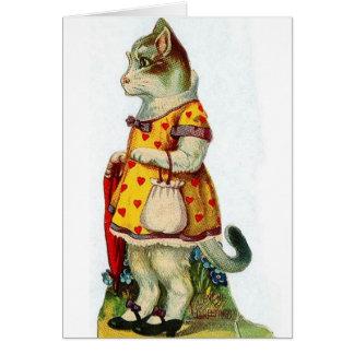 Cartão do dia dos namorados do gato do Victorian