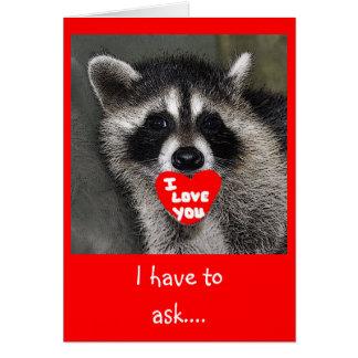 Cartão do dia dos namorados do guaxinim