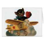 Cartão do dia dos namorados do piloto do gato pret