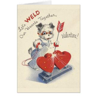 Cartão do dia dos namorados do soldador do vintage
