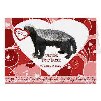 Cartão do dia dos namorados do texugo de mel