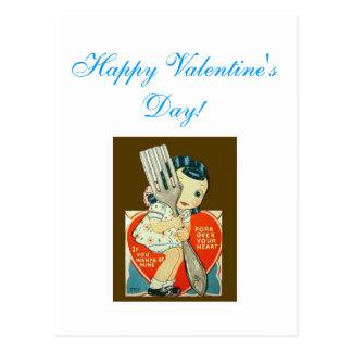 cartão do dia dos namorados do vintage; menina com