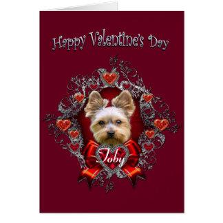 Cartão do dia dos namorados do yorkshire terrier