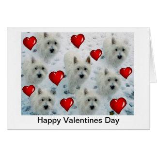 Cartão do dia dos namorados dos corações de Westie