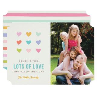 Cartão do dia dos namorados dos corações dos doces convite 12.7 x 17.78cm