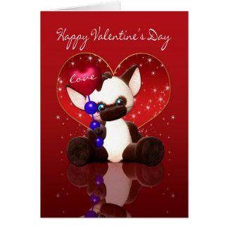 Cartão do dia dos namorados - gato Siamese bonito