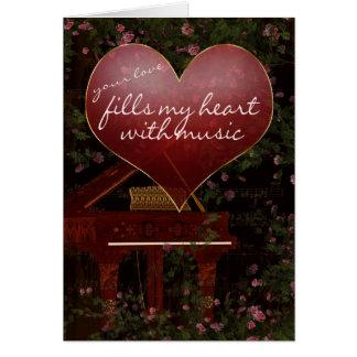 Cartão do dia dos namorados - piano, música, rosas
