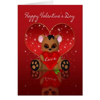 Cartão do dia dos namorados - urso bonito de pano